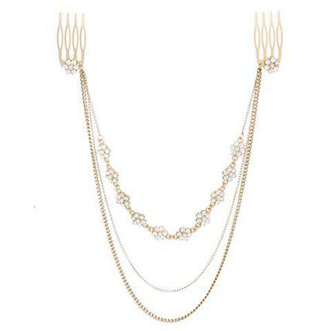 Faux Pearl Decorated Multi Layered Tassels Pendant Hair Comb For Women $5.22 AT vintagedancer.com