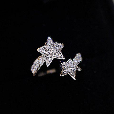 Fancy Diamante Star Pattern Cuff Ring - ONE-SIZE SILVER Mobile