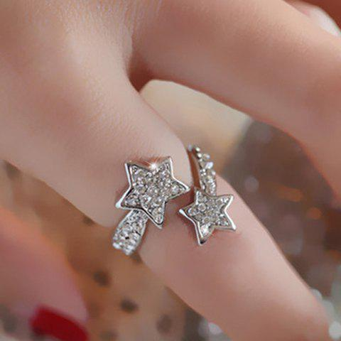 Sale Diamante Star Pattern Cuff Ring - ONE-SIZE SILVER Mobile