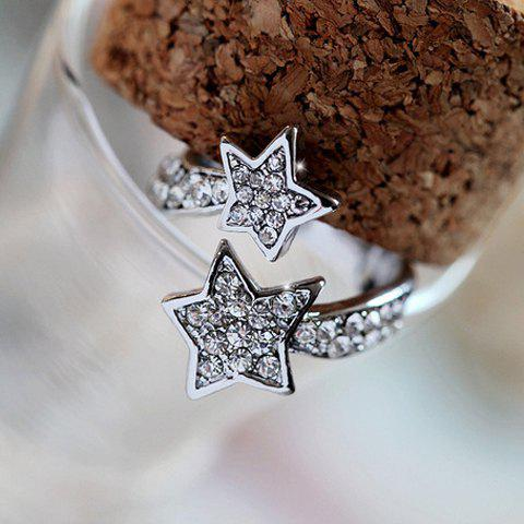 Discount Diamante Star Pattern Cuff Ring - ONE-SIZE SILVER Mobile