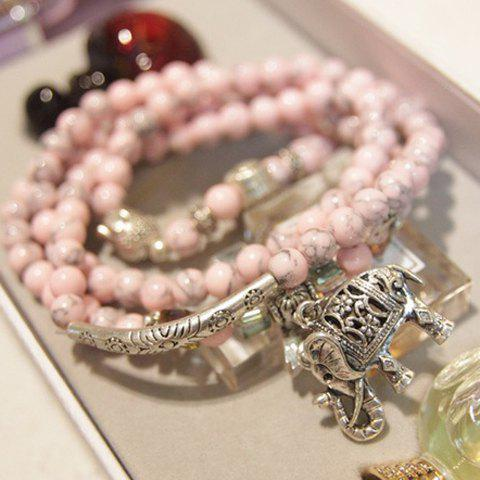 Carved Elephant Pendant Multi-Layered Beads Bracelet - PINK