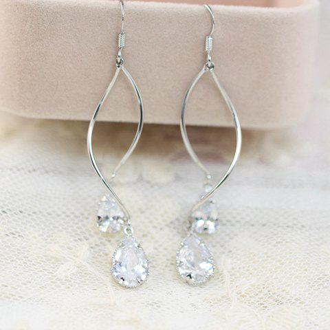 Discount Pair of Sweet Waterdrop Faux Crystal Pendant S-Shaped Earrings For Women