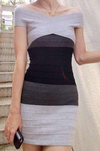 Cheap Off-The-Shoulder Color Block Bandage Fitted Club Dress