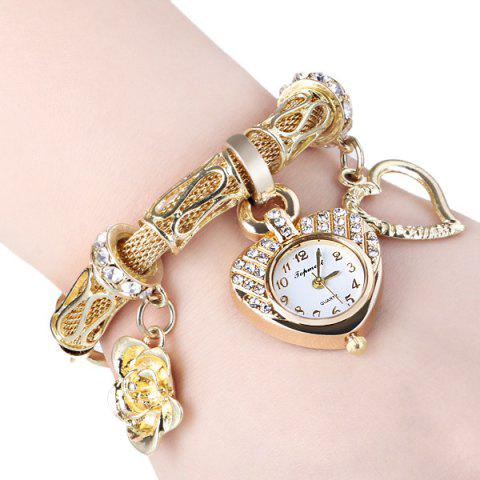 Shop 01457 Stylish Quartz Heart Dial Watch with Flower and Heart Alloy Chain Watch Band for Women