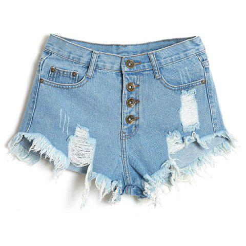 Online Stylish Bleach Wash Frayed Tassel Denim Shorts For Women