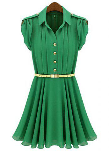 Sale Short Sleeve Turn Down Collar Epaulet Design Chiffon Women's Dress