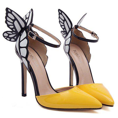 Trendy Fashionable Butterfly Wings and Color Block Design Women's Pumps