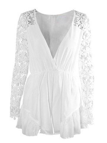 Buy Stylish Plunging Neckline Lace Splicing 3/4 Sleeve Romper For Women