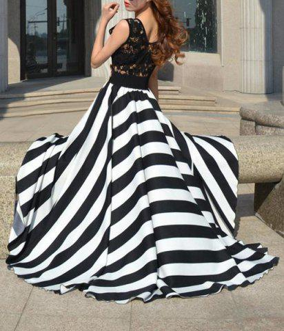 Chic A Line Striped Lace Panel Maxi Prom Dress - L WHITE AND BLACK Mobile