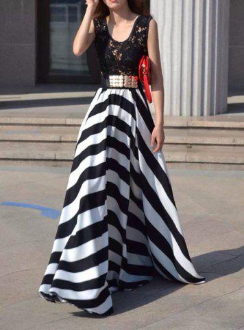 Sale A Line Striped Lace Panel Maxi Prom Dress WHITE AND BLACK XL