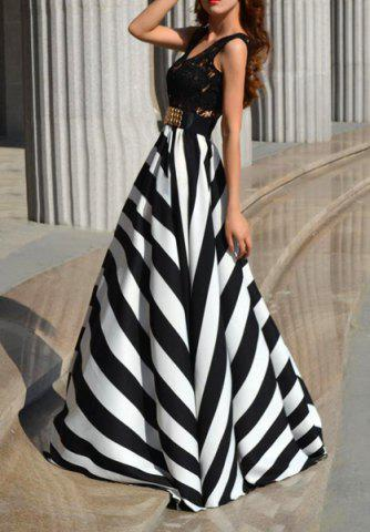 Sale A Line Striped Lace Panel Maxi Prom Dress - L WHITE AND BLACK Mobile