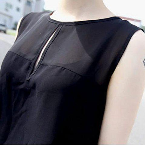 New Sweet Scoop Neck Solid Color Sleeveless Women's Romper - ONE SIZE BLACK Mobile