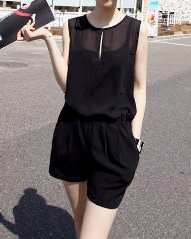 Best Sweet Scoop Neck Solid Color Sleeveless Women's Romper - ONE SIZE BLACK Mobile