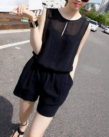 Shops Sweet Scoop Neck Solid Color Sleeveless Women's Romper - ONE SIZE BLACK Mobile