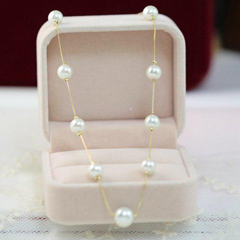 Cheap Sweet Faux Pearl Embellished Necklace For Women COLOR ASSORTED