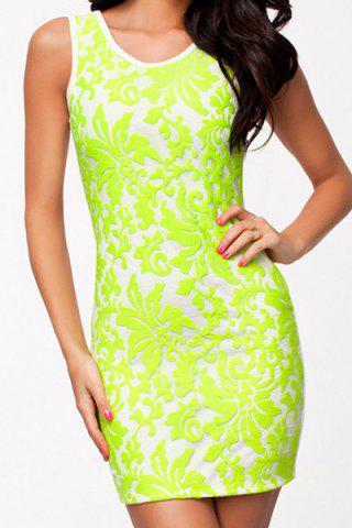 Store Simple Scoop Neck Sleeveless Bodycon Backless Women's Dress NEON GREEN M