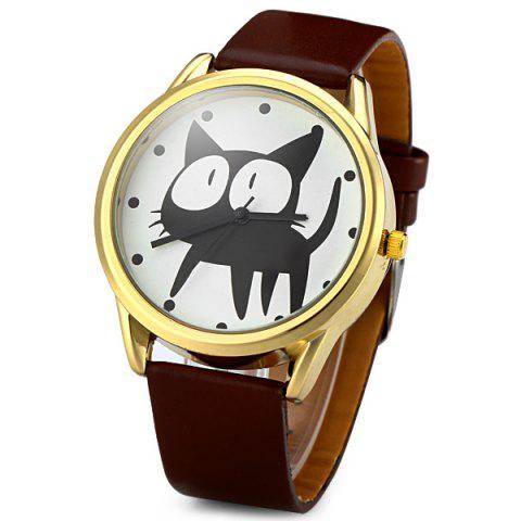 Outfits JUBAOLI 2108 Quartz Watch 12 Dots Indicate Cat Pattern Circular Dial and Artificial Leather Watchband