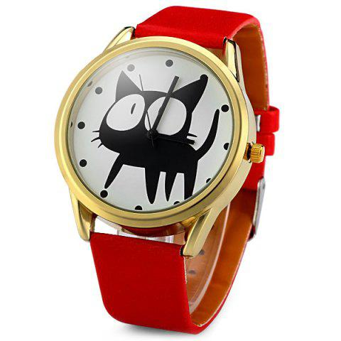 Discount JUBAOLI 2108 Quartz Watch 12 Dots Indicate Cat Pattern Circular Dial and Artificial Leather Watchband