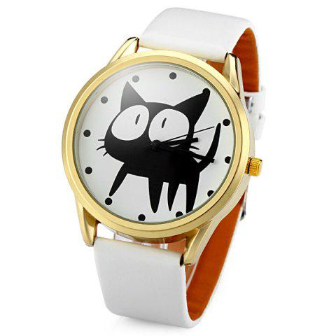 Best JUBAOLI 2108 Quartz Watch 12 Dots Indicate Cat Pattern Circular Dial and Artificial Leather Watchband