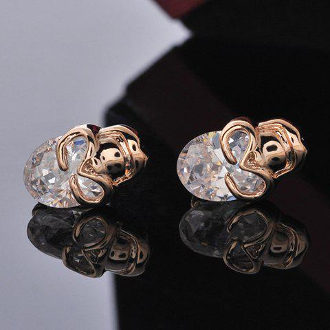 Pair Of Delicate Rhinestone Decorated Skull Earrings For Women