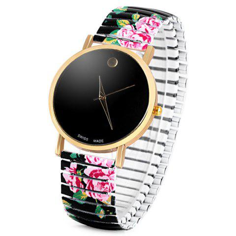 Shop Swiss Quartz Watch with Pointer Display Simply Round Dial Elastic Watchband for Women