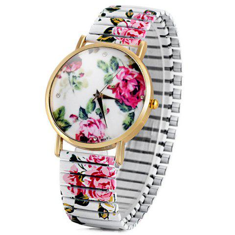 Unique Fashional Quartz Watch with Pointer Display Peony Round Dial Elastic Watchband for Women