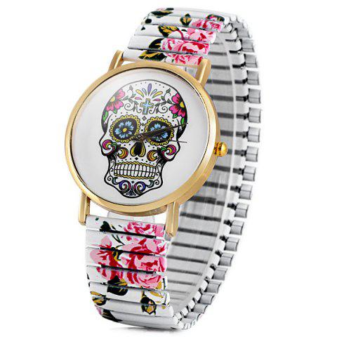 Outfits Simply Quartz Watch Halloween Gift with Pointer Display Skull Pattern Round Dial Elastic Watchband for Women