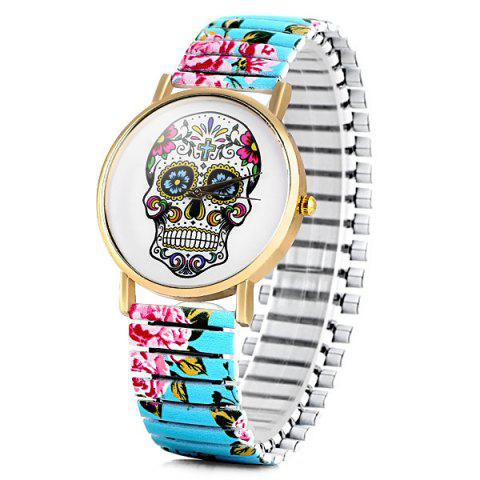 Hot Simply Quartz Watch Halloween Gift with Pointer Display Skull Pattern Round Dial Elastic Watchband for Women
