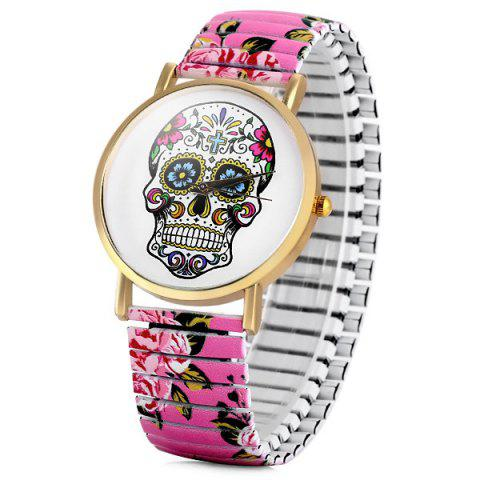 Store Simply Quartz Watch Halloween Gift with Pointer Display Skull Pattern Round Dial Elastic Watchband for Women