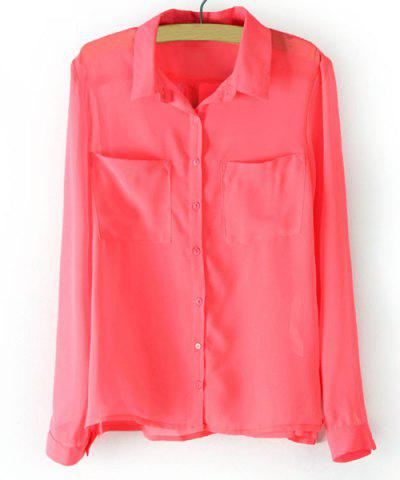 Store Trendy Solid Color Long Sleeve Turn Down Collar See-Through Women's Shirt