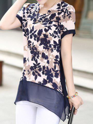 Outfits Print Design Notched Roll Collar Short Sleeve Chiffon Women's Blouse