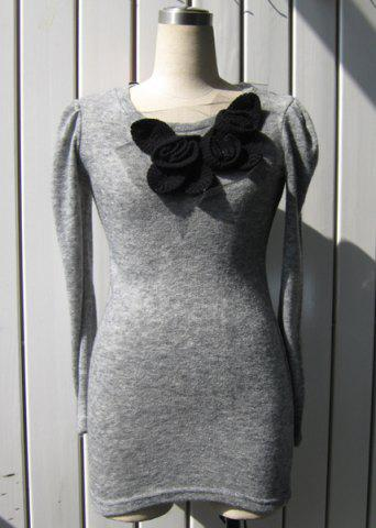 Chic Long Sleeve Stereo Flower Knitted Sheath Dress - ONE SIZE LIGHT GRAY Mobile