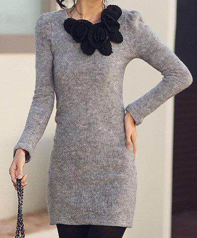 Sale Long Sleeve Stereo Flower Knitted Sheath Dress - ONE SIZE LIGHT GRAY Mobile
