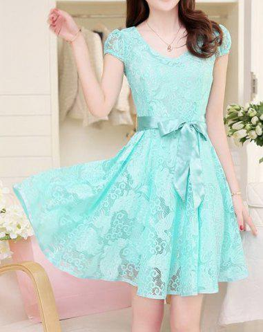 Buy Elegant V-Neck Short Sleeve Openwork Lace Dress For Women