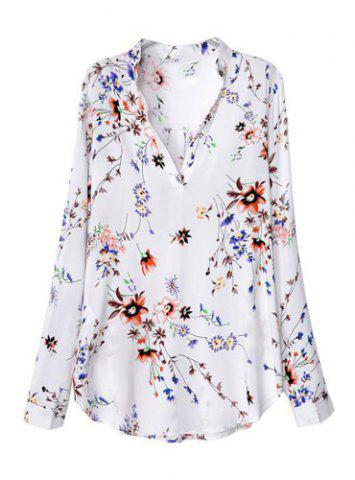 Hot Fashionable V-Neck Floral Print Long Sleeve Women's Blouse WHITE M
