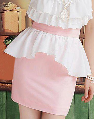 Outfit Sweet Color Block Chiffon Splicing Skirt For Women