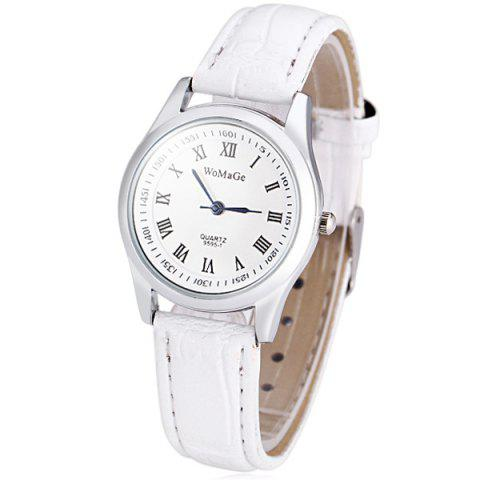 Trendy WoMaGe 9595 - 1 Quartz Watch 12 Roman Numbers Indicate Round Dial and Leather Watchband