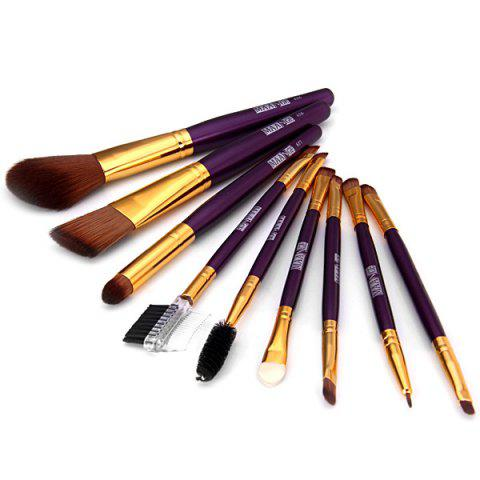 Chic 9PCS High-end Dresser Basic Brush Collection Cosmetic Blush Brush Smokey Eyeliner Brush Make-up Tool Set DEEP PURPLE