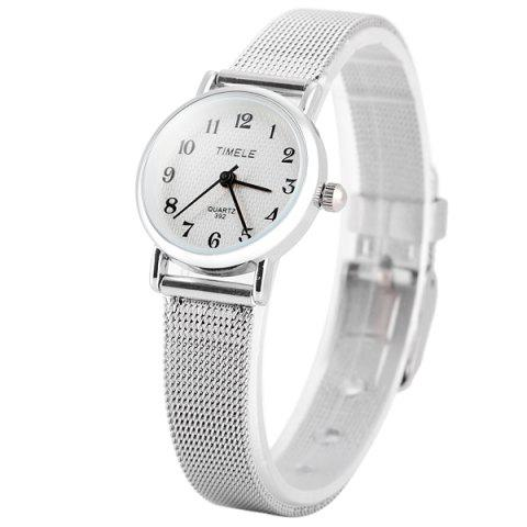 Online Timele 392 Quartz Arabic Numerals Indicate Round Dial Watch with Stainless Steel Watchband for Women