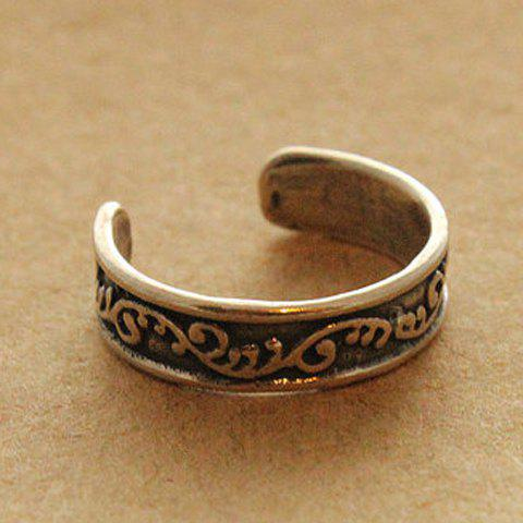 Discount Vintage Carved Small Flower Design Cuff Feet Ring For Women
