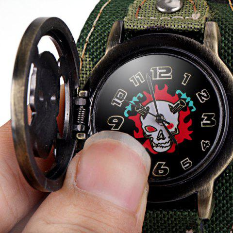 Best Luxury Flip Skull Head Cover Quartz Wrist Watch with Analog Leather Watchband + Chain for Men - CAMOUFLAGE COLOR  Mobile