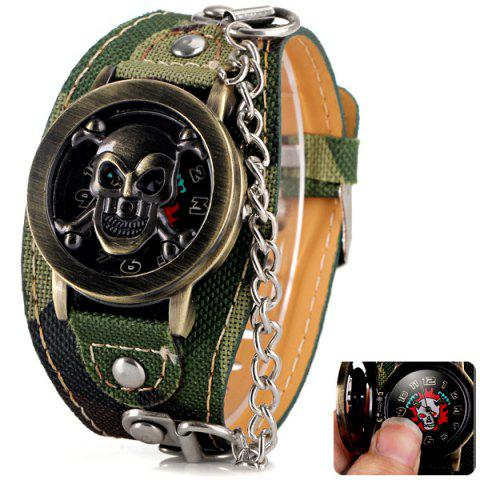 Buy Luxury Flip Skull Head Cover Quartz Wrist Watch with Analog Leather Watchband + Chain for Men CAMOUFLAGE COLOR