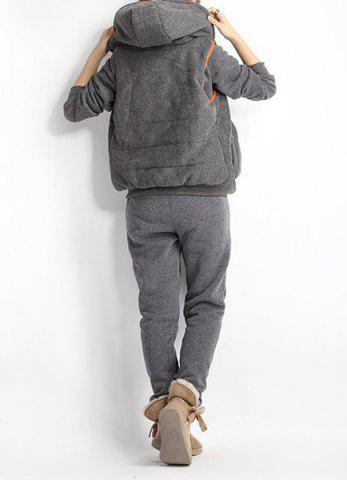 Trendy Women Autumn Stylish Hoodies Suit Thickening Sports Hoodie Hoody + Pant + Vest 3pcs - L GRAY Mobile