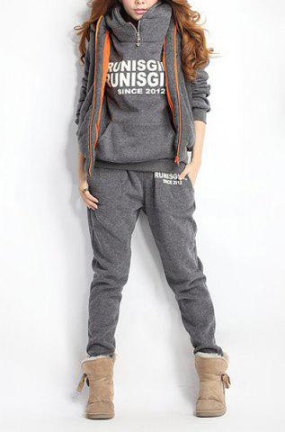 Fancy Women Autumn Stylish Hoodies Suit Thickening Sports Hoodie Hoody + Pant + Vest 3pcs - L GRAY Mobile