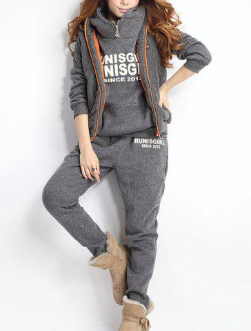Sale Women Autumn Stylish Hoodies Suit Thickening Sports Hoodie Hoody + Pant + Vest 3pcs - L GRAY Mobile
