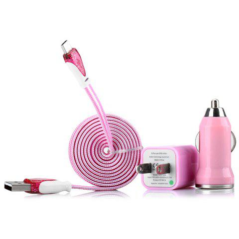 PINK 3 in 1 Kit Micro USB Stripe Design Woven Texture Flat Cable and US Standard Power Adapter and Car Charger