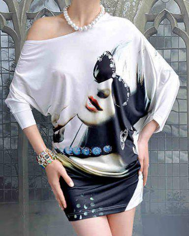 Store Stylish One-Shoulder Printed Dolman Sleeve Dress For Women