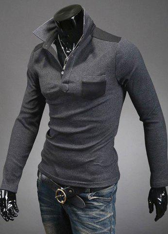 Slimming Trendy Turn-down Collar Color Splicing Pocket Embellished Long Sleeves Men's Cotton Blend Polo T-Shirt - Deep Gray - L