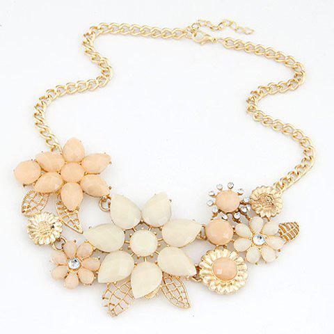 Cheap Fashion Resin Rhinestone Flower Pendant Necklace For Women