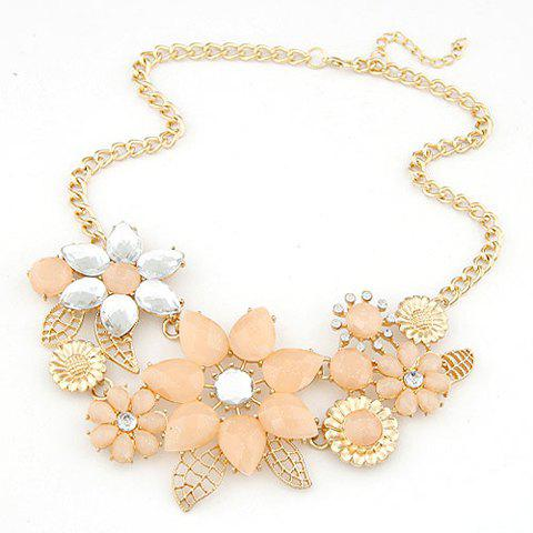 Sale Fashion Resin Rhinestone Flower Pendant Necklace For Women